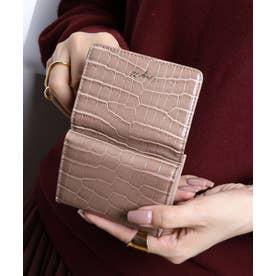 シャイニースモールクロコ 三つ折りミニ財布 (OAK)