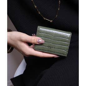 シャイニースモールクロコ 三つ折りミニ財布 (KHA)