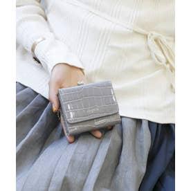 シャイニースモールクロコがま口財布 (LGRY)