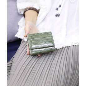 シャイニースモールクロコがま口財布 (KHA)