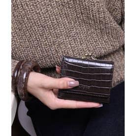 シャイニースモールクロコがま口財布 (DBRN)