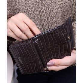 シャイニースモールクロコ 三つ折りミニ財布 (DBRN)