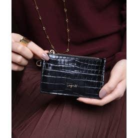 シャイニースモールクロコ カード財布キーリング付き (BLK)