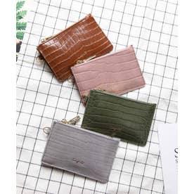 シャイニースモールクロコ カード財布キーリング付き (LGRY)