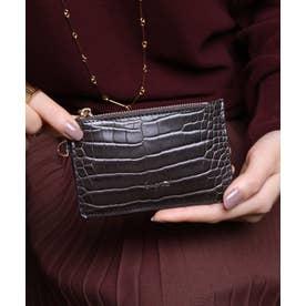 シャイニースモールクロコ カード財布キーリング付き (DBRN)