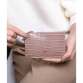 シャイニースモールクロコ カード財布キーリング付き (OAK)