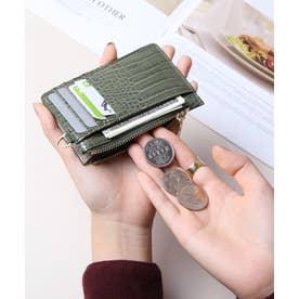 シャイニースモールクロコ カード財布キーリング付き (KHA)