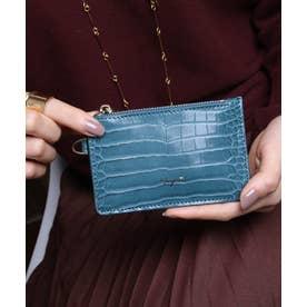 シャイニースモールクロコ カード財布キーリング付き (TBLU)