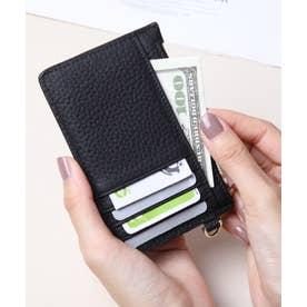 牛革 カード財布キーリング付き (BLK)