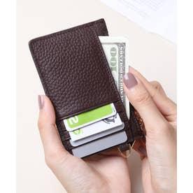 牛革 カード財布キーリング付き (DBRN)