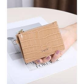 シャイニースモールクロコ カード財布キーリング付き (BEG)