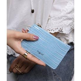 シャイニースモールクロコ カード財布キーリング付き (LBLU)