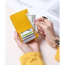 シャイニースモールクロコ カード財布キーリング付き (YEL)