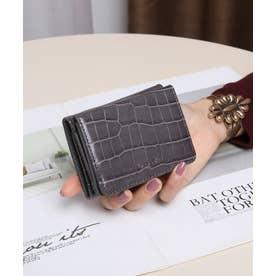 シャイニースモールクロコ 三つ折りミニ財布 (DGRY)