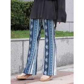 【Ca】エスニックフレアパンツ (BLU)