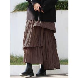 シワプリ−ツデザインスカート(ブラウン)