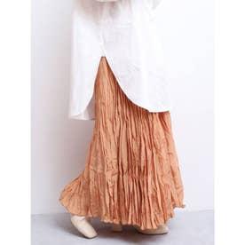 ランダムプリーツマキシスカート(オレンジ)