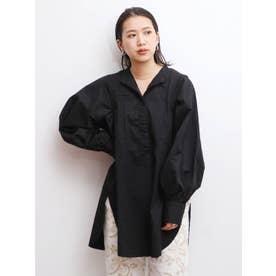 ショルダータックボリュームスリーブドレスシャツ(ブラック)