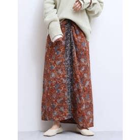 エスニックフラワーデザインスカート(オレンジ)