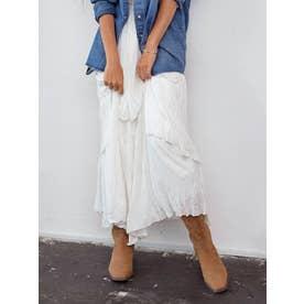 レイヤードシフォンデザインスカート(オフホワイト)