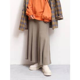 【WEB限定】フィットフレアテレコスカート(グレー)