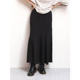 【WEB限定】フィットフレアテレコスカート(ブラック)