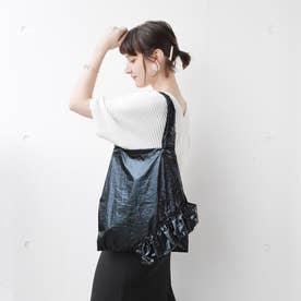 Claire【クレール】フリルエコトートバッグ(ブラック)