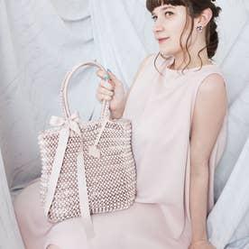 Ruban【ルバン】リボンニット編みバッグ (パウダーピンク)