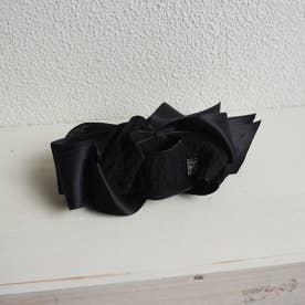 ワッフルとサテンリボンのコンビバナナクリップ/BOX付き (ブラック)