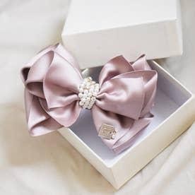 重ねリボン真ん中チェーンパールワニクリップ/BOX付き(ピンク)