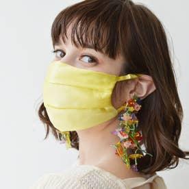 耳ひも調整可 洗える【CELEBMASK No.3】シルクを纏って日常をもっと美しく セレブマスク/ケース付き【返品不可商品】 (イエロー)