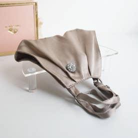 【母の日】BOX付シルク立体マスク&マスクピアスセット (グレーベージュ)【返品不可商品】