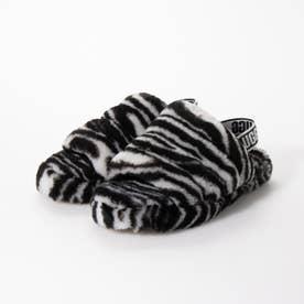 1116156K フラッフ イヤー スライド ゼブラ サンダル (ブラック×ホワイト)