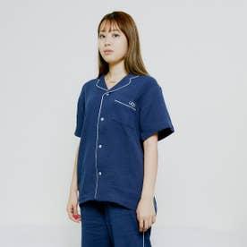 ダブルガーゼ パイピングシャツ (NAVY)