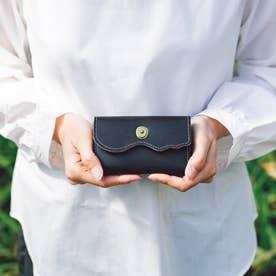 波打つデザインのレザーキーカードケース (グリーン)