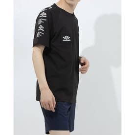 半袖機能Tシャツ HE スリーブプリントTシヤツ ULURJA57 (ブラック)