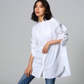 【洗える】バンドカラーブロードシャツ (オフホワイト)