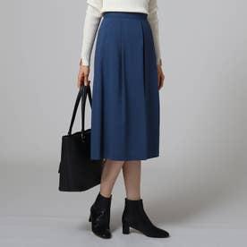 [L]【洗える】ネイチャーWTタックスカート (ブルー)