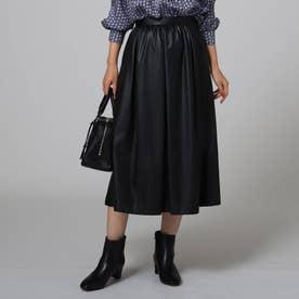 ノベルフェイクレザーフレアスカート (ブラック)