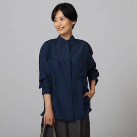 【洗える】フルイドローン アウターシャツ (ブルー)