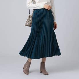 [L]【洗える】スエード調プリーツスカート (ブルー)