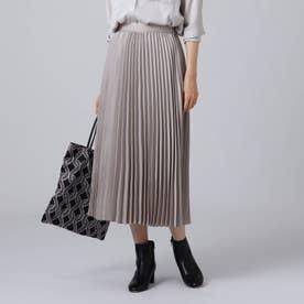 【洗える】スエード調プリーツスカート (グレー)