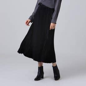 【洗える】スエード調プリーツスカート (ブラック)