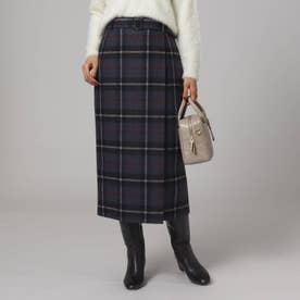 「L」カベルニチェックラップ風スカート (ブラック)