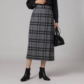 カベルニチェックラップ風スカート (チャコールグレー)