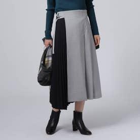 【洗える】ミストブロードプリーツドッキングスカート (ブラック)