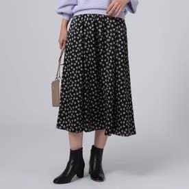 【洗える】ヴィンテージフローラルプリントスカート (ブラック)
