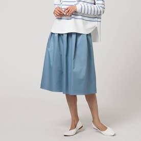 【洗える】ギャザータックスカート (ブルー)