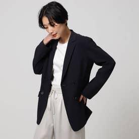 「L」【洗える】テンダーリノSTセミダブルブレストジャケット (ネイビー)