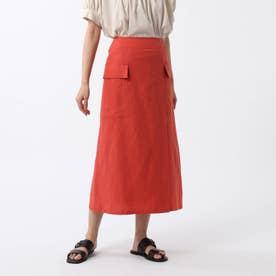 「L」リネン混カーゴスカート (オレンジ)